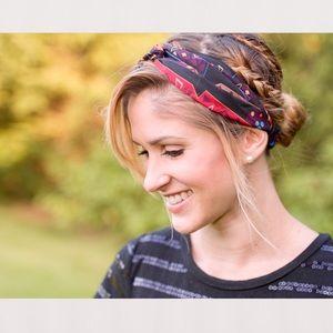 Tribal Print Headband ~ Multicolor, Scrunched back